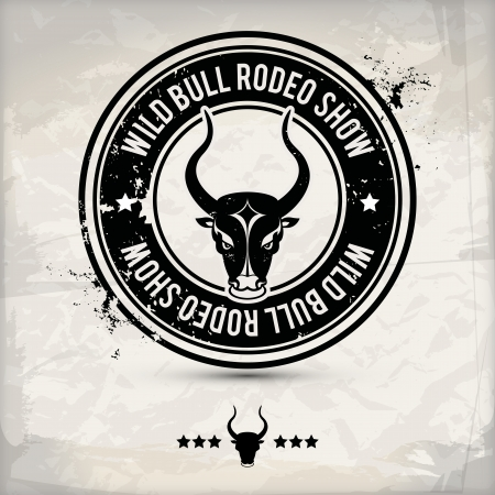 arena rodeo: alternative black bull label  stamp on textured background