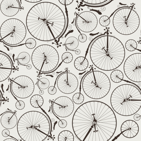 velocipede: vintage bicycle seamless wallpaper Illustration