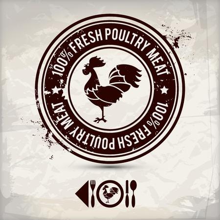 alternative poultry label  stamp on textured background Illustration