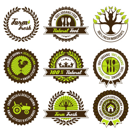 fresh produce: farm fresh label set with differently varied modern, vintage elements.