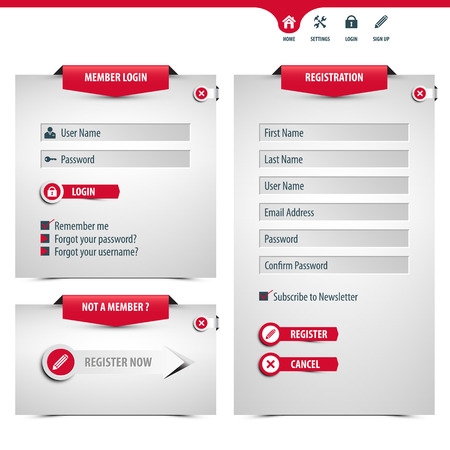 newsletter template: login and register form., contains transparencies for a high realistic effect Illustration