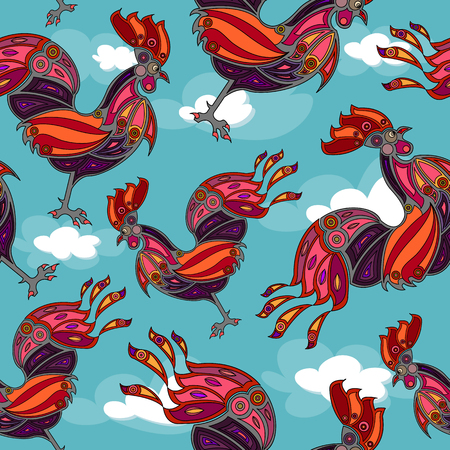 crowing rooster seamless, wallpaper. Vector