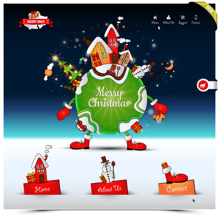 Christmas night website template in snow fall and star light, with Christmas greeting.