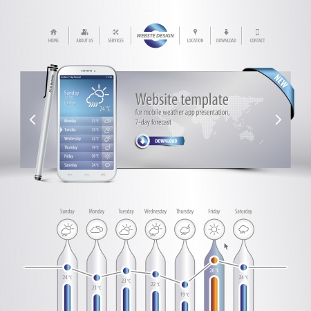 website template for mobile weather app presentation, 7-day forecast, eps10 Vector