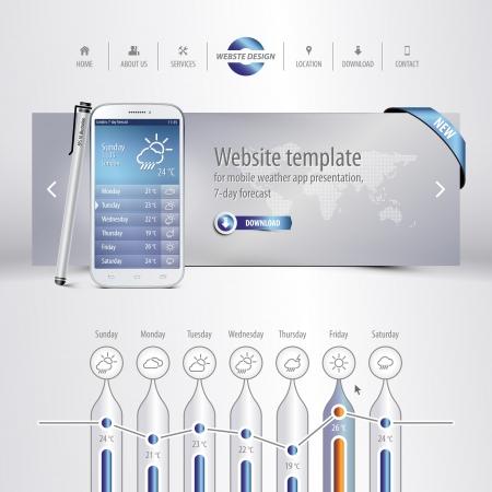 website template for mobile weather app presentation, 7-day forecast, eps10 Stock Illustratie