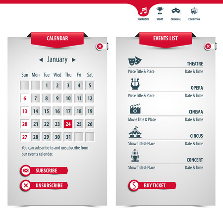 unsubscribe: calendar and icons of the most popular events, contains transparencies for a high realistic effect