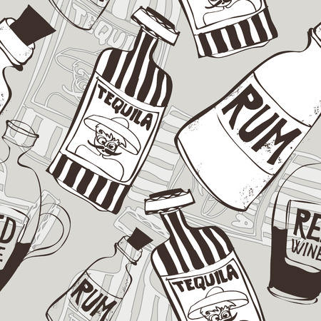 hand drawn seamless background with tequila, rum and wine bottles, perfect for wallpaper, no transparencies, ideal for prints