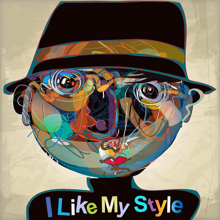 colorful imaginative kid portrait made of abstract line composition, inspired by childrens drawings,  contains transparent lines for a rich artistic effect Vector