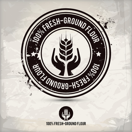 alternative fresh-ground flour stamp on textured background, which is made from several transparent layers for a worn, rubbed effect