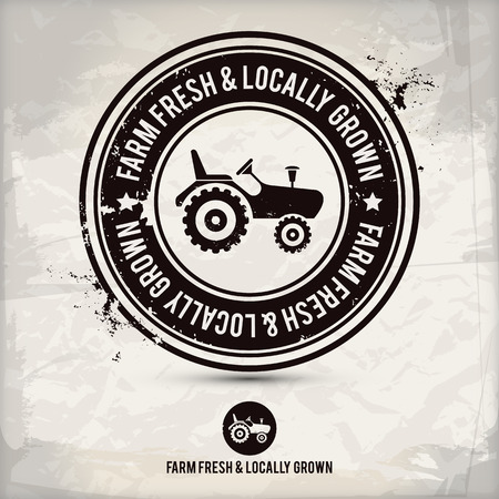 mercado: alternativa fazenda fresco selo cultivados localmente no fundo texturizado, que  Ilustração