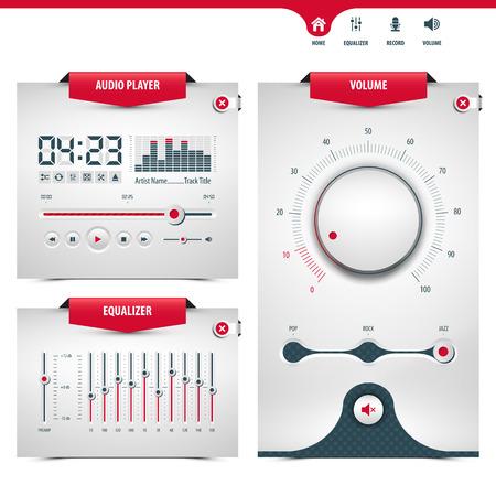 audio player design with three control navigation panels Illustration