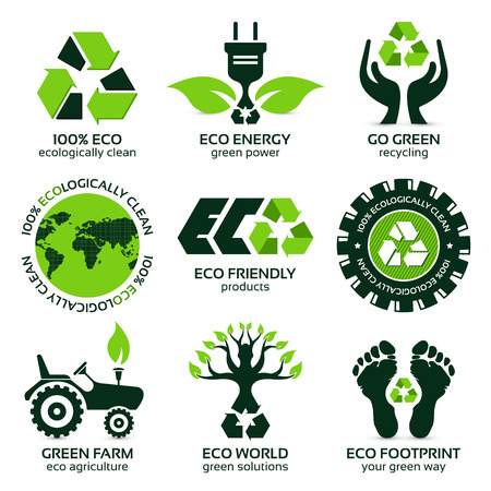 eco label and symbol set with differently varied modern elements