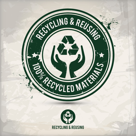 alternative recycling and reusing stamp on textured background, which is made from several transparent layers for a worn, rubbed effect, therefore saved in eps 10 Vector
