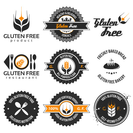 gluten free label set with differently varied modern, vintage elements, eps 8 , no transparencies, ideal for prints Stock Illustratie