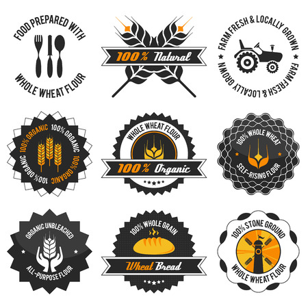 whole wheat flour label set with differently varied modern, vintage elements, eps 8 , no transparencies, ideal for prints