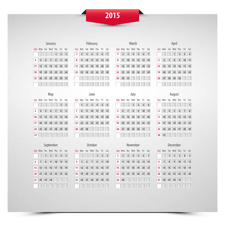 red ribbon week: 2015 calendar on 3d effect sheet, week starts with sunday, eps10