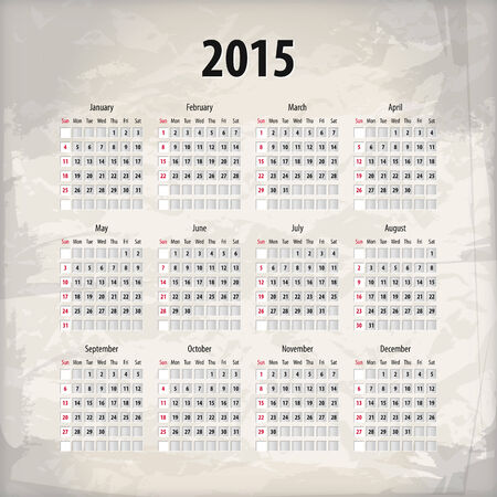 2015 calendar on textured background, which is made from several transparent layers for a worn, rubbed effect