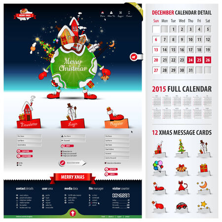 wordpress: five components website template for christmas containing: 1. xmas illustration with three tabs 2. three web forms 3. footer with icons & visitor counter 4. xmas message cards 5. 2015 calendar, eps10