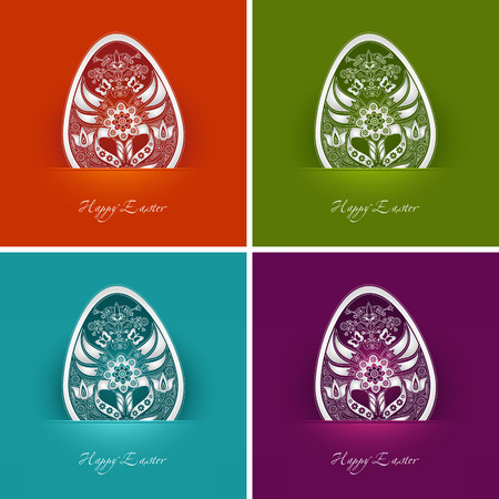 four decorative easter egg labels in different colors