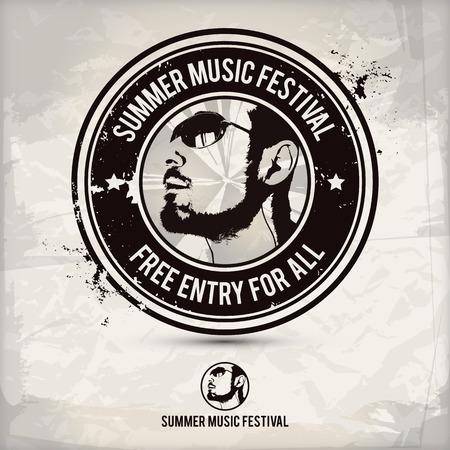 Summer music festival stamp on textured