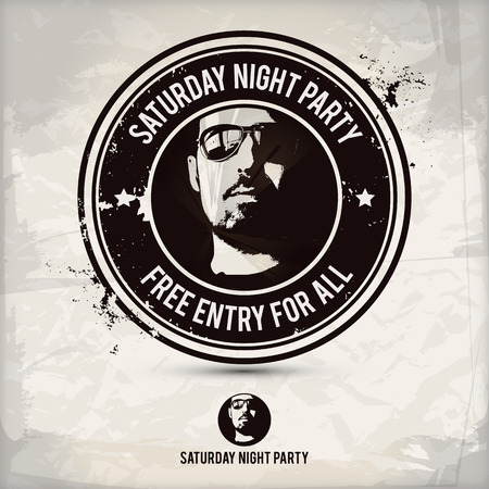 nightspot: saturday night party stamp on textured background, which is made from several transparent layers for a worn, rubbed effect, therefore saved in eps 10 Illustration