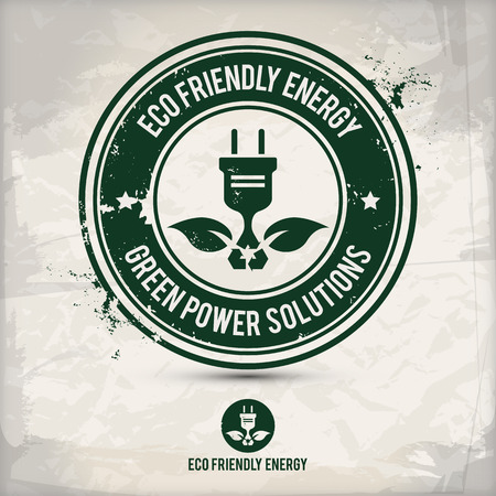 alternative eco friendly energy stamp on textured background, which is made from several transparent layers for a worn, rubbed effect, therefore saved in eps 10 Illustration