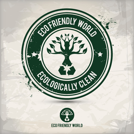 saved: alternative eco friendly world stamp on textured background, which is made from several transparent layers for a worn, rubbed effect, therefore saved in eps 10