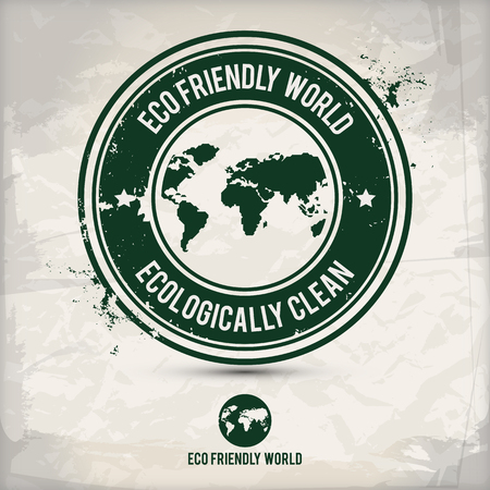 world travel: alternative eco world stamp on textured background, which is made from several transparent layers for a worn, rubbed effect, therefore saved in