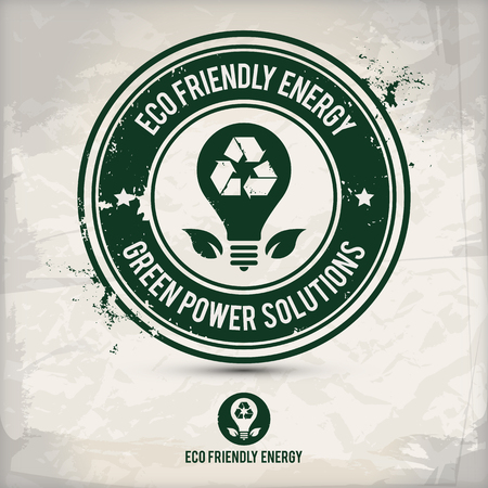 alternative eco energy stamp on textured background, which is made from several transparent layers for a worn, rubbed effect, therefore saved in