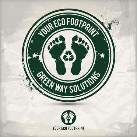 saved: alternative eco footprint stamp on textured background, which is made from several transparent layers for a worn, rubbed effect, therefore saved in eps 10