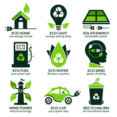 logo recyclage: éco symboles plats promotion mode de vie écologique dans le ménage, l'ombre portée contient des transparents, eps10