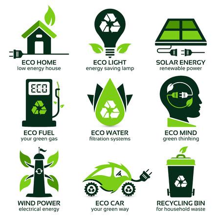 eco símbolos planas que promueven el estilo de vida verde en el hogar, la sombra paralela contiene transparencias, eps10 Ilustración de vector