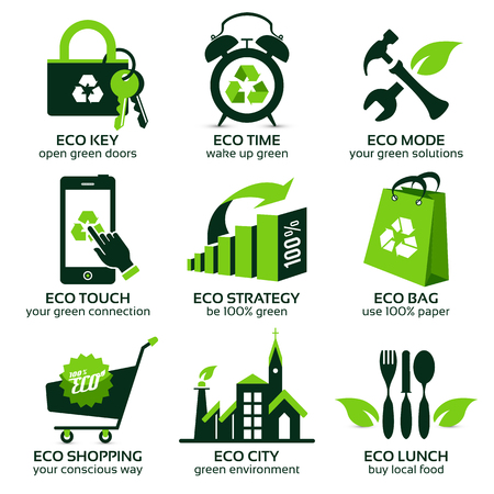 eco logo: eco flat symbols promoting green lifestyle in the world, the drop shadow contains transparencies, eps10 Illustration