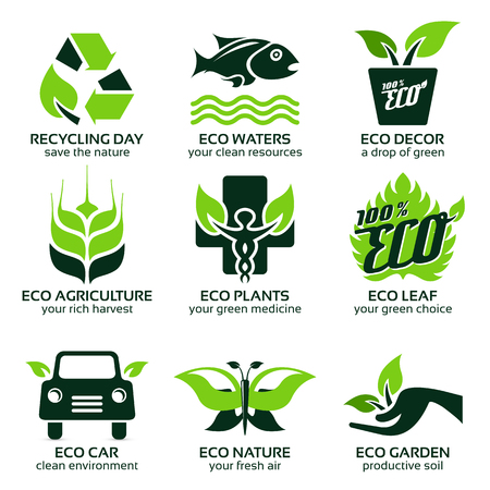 flat icon set for green eco nature, the drop shadow contains transparencies, eps10