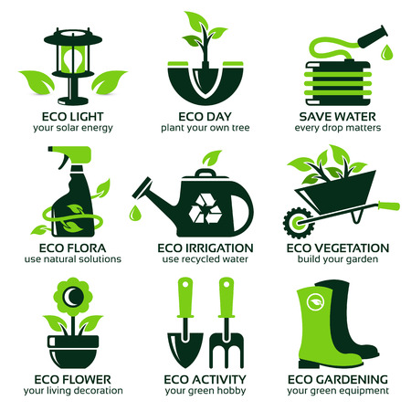 flat icon set for green eco garden, the drop shadow contains transparencies Stock Illustratie