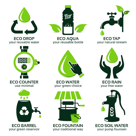 flat icon set for green eco water, the drop shadow contains transparencies, eps10 Illustration