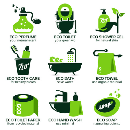 flat icon set for green eco bathroom, the drop shadow contains transparencies, eps10
