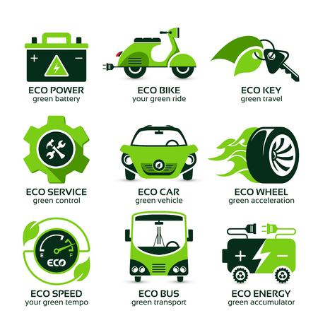 flat icon set for green eco urban traffic, the drop shadow contains transparencies, eps10