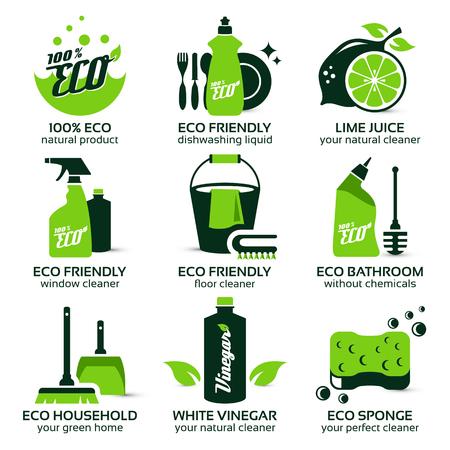 servicio domestico: conjunto de iconos plana para la limpieza ecológica verde, la sombra contiene transparencias, eps10