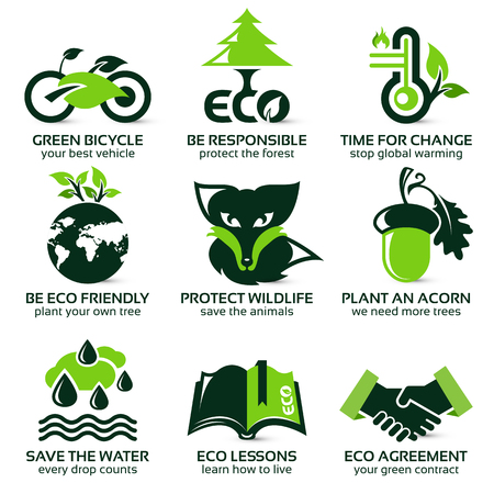 flat icon set for eco friendly environment, the drop shadow contains transparencies