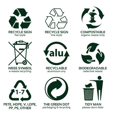 Flat icon set for green eco packaging, vector illustration and recycling icons