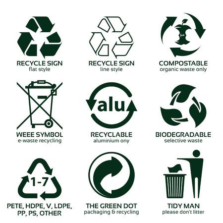 Conjunto de iconos planos para envases ecológicos ecológicos, ilustración vectorial e iconos de reciclaje