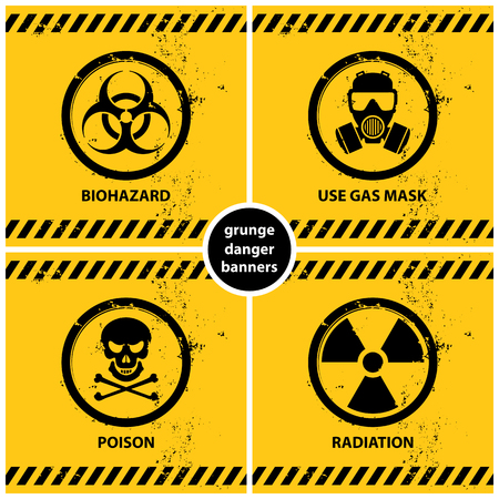 Set of grunge danger banners containing four official international hazard symbols, vector illustration.