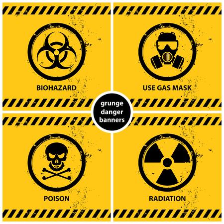 Set of grunge danger banners containing four official international hazard symbols, vector illustration.