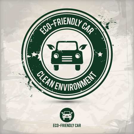 Alternative eco friendly car stamp Çizim