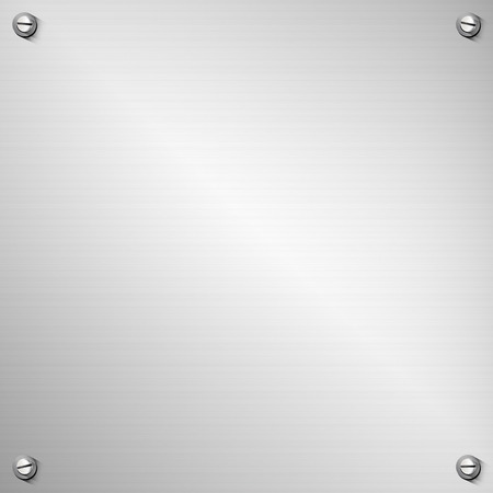 stainless steel background containing: a polished and smooth textured iron plain sheet template, four realistic and differently positioned screws, transparent drop shadows, eps10 vector illustration