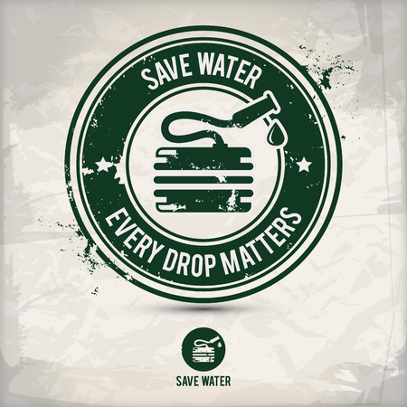 alternative eco water stamp containing: two environmentally sound eco watering motifs in circle frames, grunge ink rubber stamp effect, textured carton paper background, eps10 vector illustration