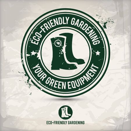 alternative green boot stamp containing: two environmentally sound eco motifs in circle frames, grunge ink rubber stamp effect, textured watercolor carton paper background.