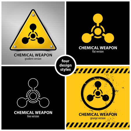 set of chemical weapon symbols containing four unique design elements in different variations: gradient, flat, line and grunge style. Stock Illustratie