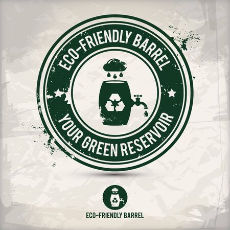 alternative eco friendly barrel stamp containing: two environmentally sound eco motifs in circle frames, grunge ink rubber stamp effect, textured carton paper background,  vector illustration